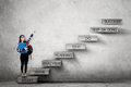 College student pointing success text on stairs Royalty Free Stock Photo