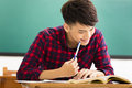 College student study in university classroom Royalty Free Stock Photo