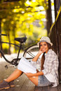College student studying outdoors cute female Royalty Free Stock Photography