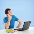 College student Thinking looking up to the empty blank space Royalty Free Stock Photo