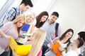 College students group of standing together in the hallway Royalty Free Stock Image