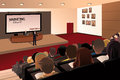 College students listening to the professor in the auditorium a vector illustration of Royalty Free Stock Image