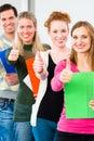 College students passed examination university successful through Stock Photos