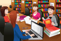 College students studying in a library vector illustration of together Royalty Free Stock Photo