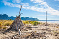 Collingwood new zeland driftwood shelter south island zealand Royalty Free Stock Photo