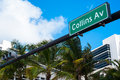 Collins avenue street sign in miami beach Royalty Free Stock Photography