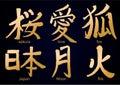 Colllection of kanji hieroglyph Royalty Free Stock Photo
