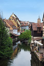 Colmar la petite venise water canal and traditional colorful houses and alsace france Royalty Free Stock Images