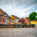 Colmar petit venice bridge bike and traditional houses alsace france on water canal colorful Royalty Free Stock Photography