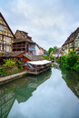 Colmar petit venice water canal and traditional houses alsace france colorful Royalty Free Stock Images