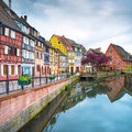 Colmar petit venice water canal and traditional houses alsace france colorful long exposure Royalty Free Stock Photography
