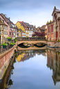 Colmar petit venice water canal and traditional houses alsace france colorful long exposure Stock Photos