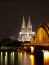 Cologne cathedral and bridge in germany Royalty Free Stock Images