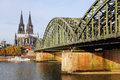 Cologne cathedral and the bridge view to Royalty Free Stock Photos