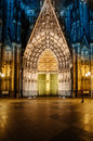 Cologne cathedral facade at night kolner dom of stone door koln germany Royalty Free Stock Photography