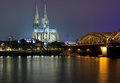 Cologne Cathedral and Hohenzollern Bridge Royalty Free Stock Image