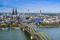 Cologne germany aerial view over the rhine river Stock Photos
