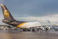 Cologne germany may ups boeing at cologne bonn airport during loading operations Royalty Free Stock Photo