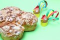 Colomba italian easter cake with colorful roosters made with paper and eggs Royalty Free Stock Photo