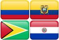 Colombia, Ecuador, Guyana, Paraguay Royalty Free Stock Photos