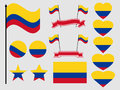 Colombia flag set. Collection of symbols, flag in heart. Vector Royalty Free Stock Photo