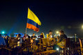Colombia s flag waving at cafe del mar cartagena december Royalty Free Stock Images