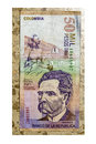 Colombian currency on tile thousand pesos bill Stock Photos
