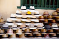 Colombian sombrero s a pile of at a street vendors stand Stock Image