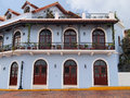Colonial house in central america beautiful spanish with wrought iron and plants casco viejo panama city panama Royalty Free Stock Images