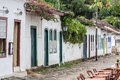 Colonial houses paraty rio de janeiro brazil the typical historical colorful buidlings facade with wood doors in a stone street of Stock Images