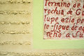 Colonial stone wall closeup spanish building up close with etched writing in merida mexico Royalty Free Stock Images