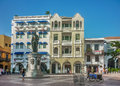 Colonial Style Square in Cartagena Colombia Royalty Free Stock Photo