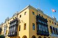 Colonial yellow building, Lima, Peru Royalty Free Stock Photo