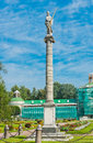 Colonna with a statue of minerva and orangerie kuskovo estate moscow russia Royalty Free Stock Photography