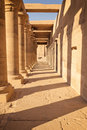 Colonnade of ancient columns at Philae Temple  Egypt Royalty Free Stock Photo