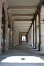 Colonnade from an old building in barcelona spain Royalty Free Stock Photo