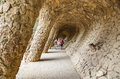 Colonnade of park Guell in Barcelona Royalty Free Stock Photo