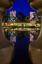 The Colonnade with reflections in the lily pond at Balboa Park Royalty Free Stock Photo