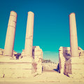 Colonnade ruins of ancient bet shean instagram effect Royalty Free Stock Image