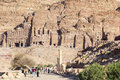 Colonnaded street with urn, silk and royal tombs on background. Petra. Jordan. Royalty Free Stock Photo