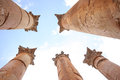 Colonne in jerash Immagine Stock