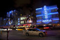 Colony hotel at the ocean drive in miami beach at night usa august view on august florida art deco life south is one of Stock Image