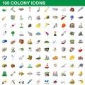 100 colony icons set, cartoon style