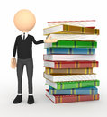 Color 3d person with  books Royalty Free Stock Photos