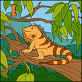 Color alphabet for children: letter I (iguana)