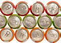 Color aluminum drink cans Stock Photography