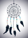 Color american indians dreamcatcher with bird feathers and floral ornament beautiful illustration Royalty Free Stock Photos