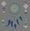 Color american indians dreamcatcher with bird feathers and geometrical figures Stock Images