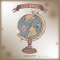Color antique globe hand drawn sketch on old paper background. Royalty Free Stock Photo
