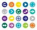 Color arrow button sign icon set simple circle shape internet Royalty Free Stock Photos
